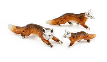 Set of 3 Silver and Enamel Foxes