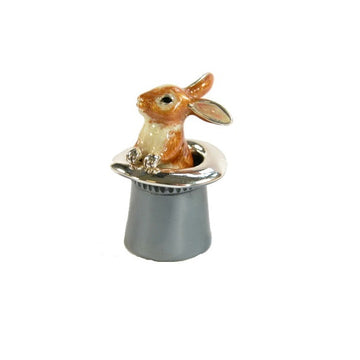 Silver and Enamel Rabbit in Top Hat