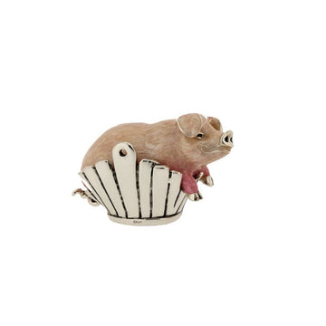 Silver and Enamel Pig in Basket