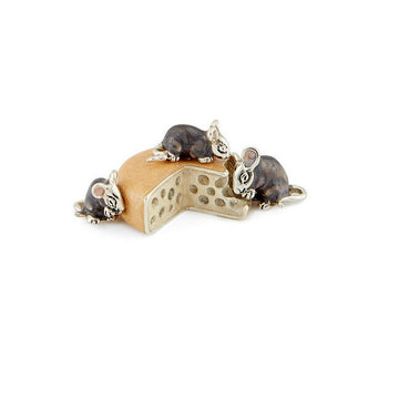 Silver and Enamel Mice With Cheese