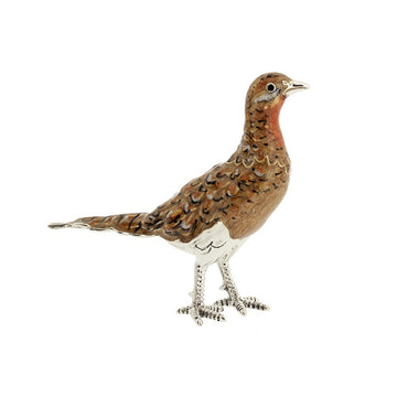 Silver and Enamel Hen Pheasant