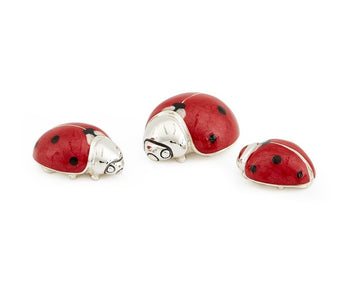 Set of 3 Silver and Enamel Ladybirds