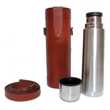 Leather Thermos Flask and Carry Case