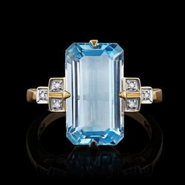 9ct Yellow Gold Large Blue Topaz and Diamond Ring