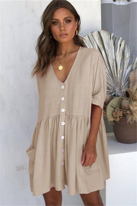 Sherobikini V-Neck Pocket Short Casual Dresses