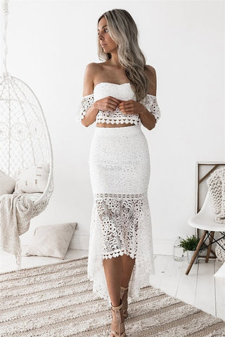 Sherobikini White Lace Off The Shoulder Two Piece Lace Dress