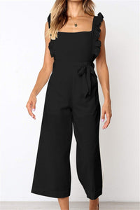 Sherobikini Square Neck Ruffles Trim Tied Backless Sexy Jumpsuit