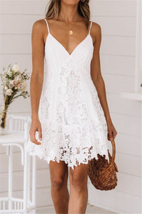 Sherobikini V-neck Sling Lace Stitching Dress
