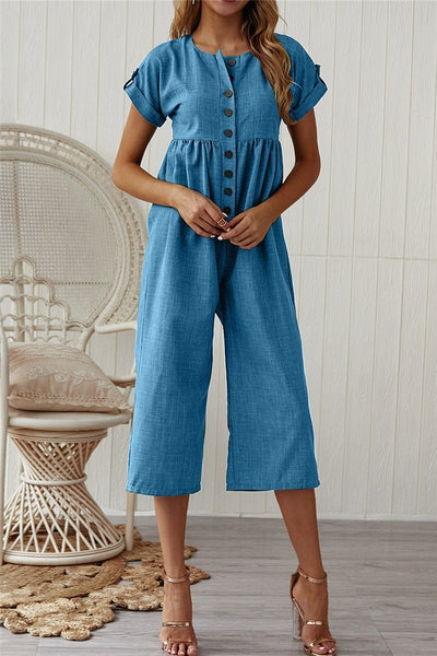 Sherobikini Button Up Short Sleeve Lapel Jumpsuits