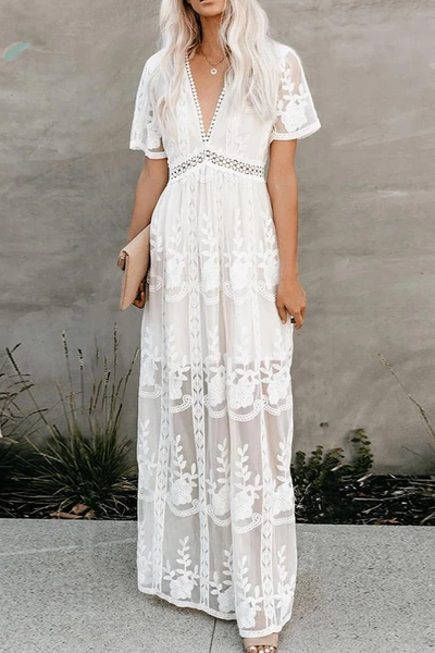 Sherobikini Fill Your Heart White Lace Maxi Dress