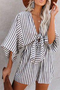 Sherobikini Striped V-neck High Waist Romper