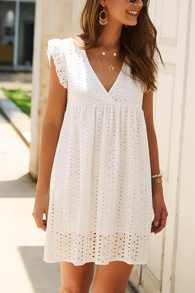 Sherobikini Hollow V-Neck Cap Sleeve A-Line High Waist Dress