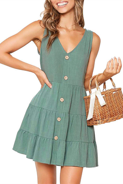 Sherobikini Pleated Design Mini A Line Dress