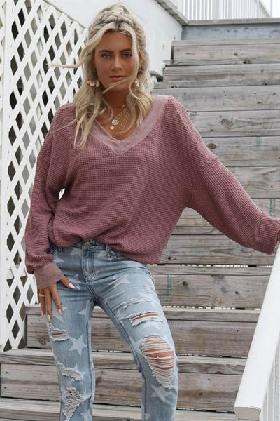 Sherobikini V Neck Drop Shoulder Sweater