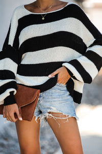 Sherobikini Spliced Knitted Loose Knit Sweater