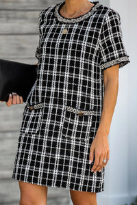 Sherobikini Plaid Short Sleeve Tunic Elegant Dress