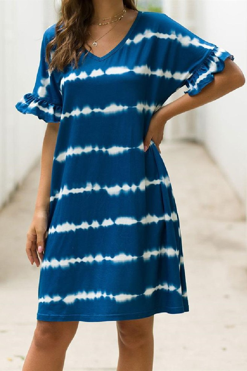 Sherobikini Tie Dye Casual Block Tunic V-Neck Dress