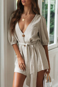Sherobikini Simple Solid Color V-Neck Belt Romper