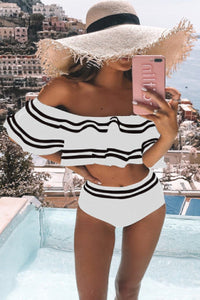 Sherobikini Color Block Ruffle Off Shoulder High Waist Bikini Set