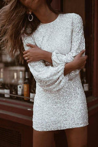 Sherobikini Sequin Puff Sleeve Sheath Dress
