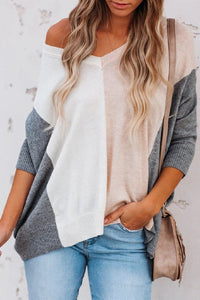 Sherobikini Dolman Sleeve Drop Shoulder Contrasted Sweater
