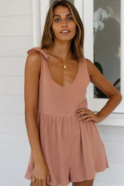 Sherobikini Sienna Round Neck Solid Color Romper