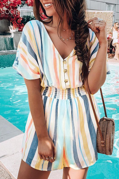 Sherobikini Print V-neck Striped Button Romper
