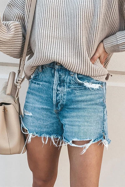 Sherobikini Frayed Raw Hem Ripped Denim Shorts
