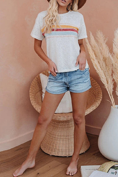 Sherobikini Striped Crew Neck Short Sleeve T-shirt
