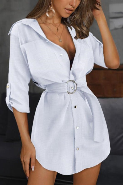 Sherobikini Ring Belt Pocket Design Shirt Dress