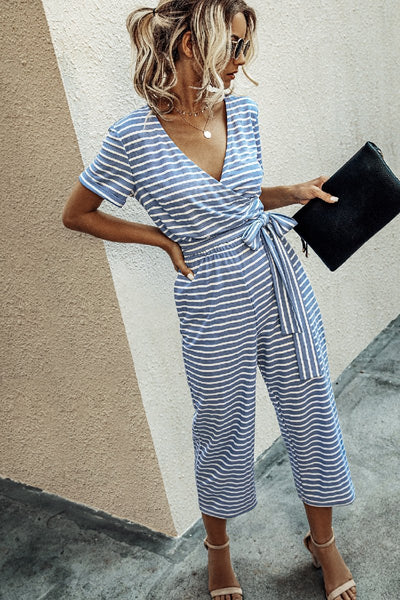 Sherobikini Striped Knot Design Blue One-piece Jumpsuit