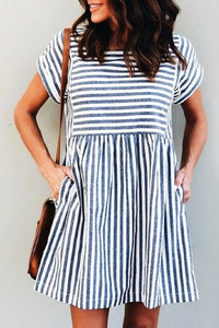 Sherobikini Square Collar Short Sleeve Striped Dress