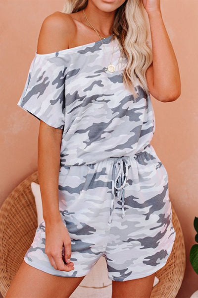 Sherobikini Summer Camo Short Sleeve Romper with Pockets