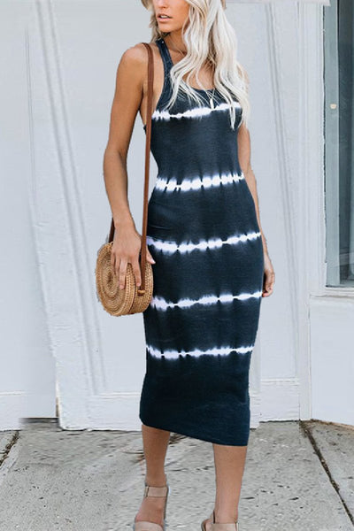 Sherobikini Stripe Tie-dye Slim Tank Dress