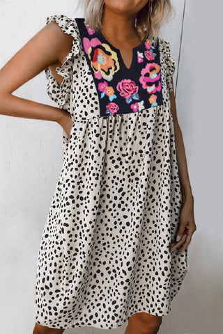 Sherobikini Leopard Splicing Floral Ruffled Casual Dress