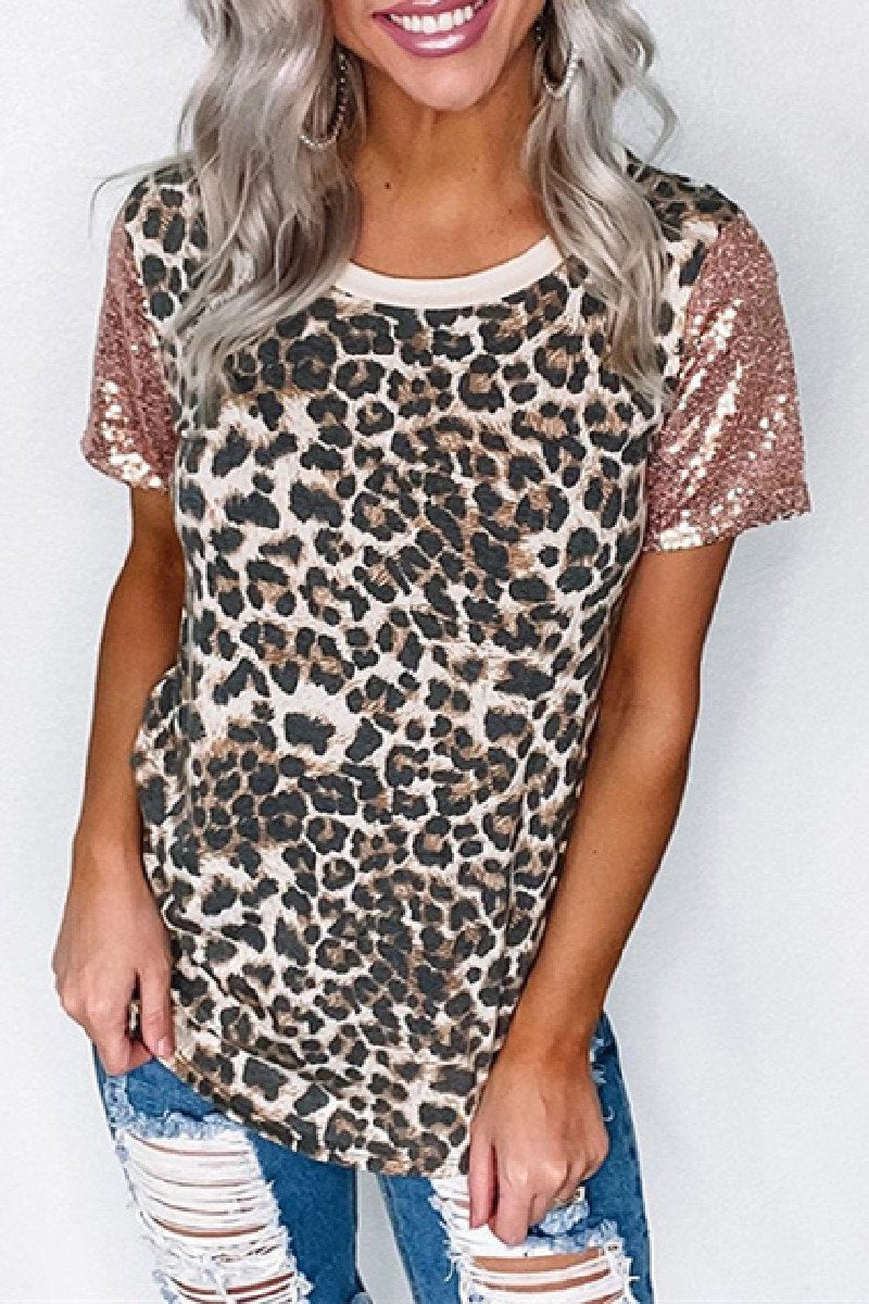 Sherobikini Make It Count Leopard Sequin Top