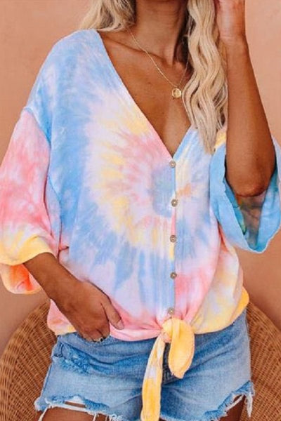 Sherobikini Deep V Sleeve Button Knotted Tie-dye Loose Top