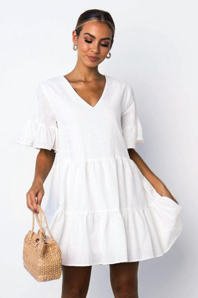 Sherobikini Short Sleeve Ruffle Trim Skater Dress