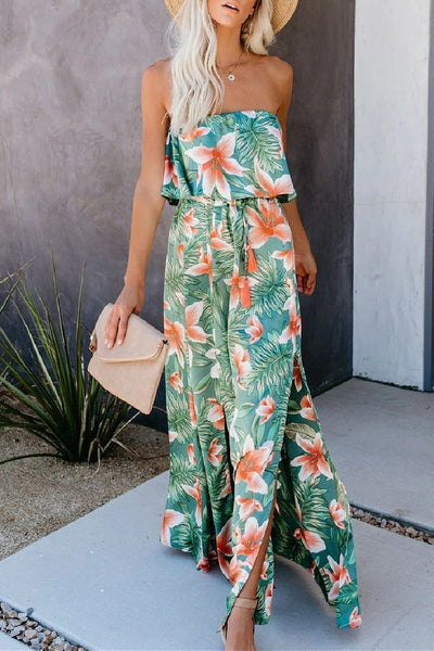 Sherobikini Tropical Rain Forest Print Off-shoulder Ruffle Split Dress