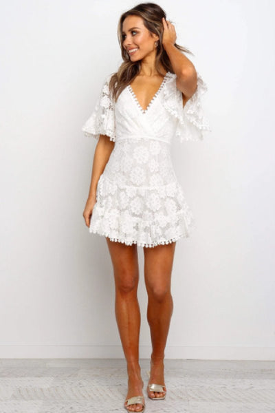Sherobikini Lace Splicing Hollow Out Wrap Floral Mini Dress