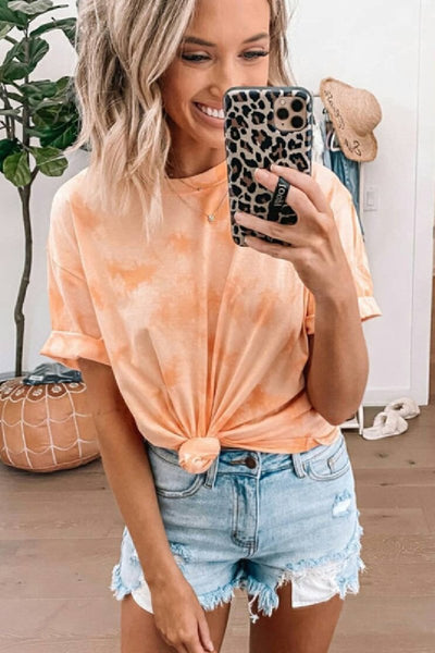 Sherobikini Tie Dye Floral Round Neck Short Sleeve T-Shirt