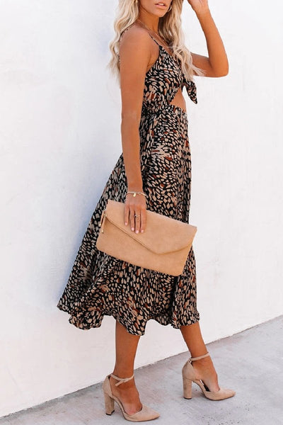 Sherobikini Leopard Taste Printed Cutout Midi Dress