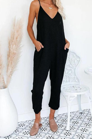 Sherobikini Solid Color Spaghetti Strap Casual Wear Jumpsuit