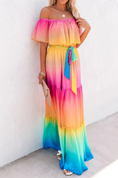Sherobikini Off-the-shoulder Gradient Maxi Dress