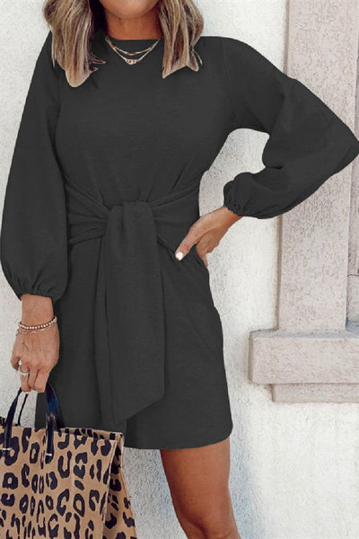 Sherobikini Round Neck Tie Long Sleeve Dress