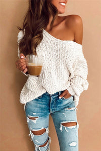 Sherobikini Off Shoulder White Sweater