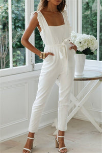 Sherobikini White Ruffle One-piece Jumpsuits