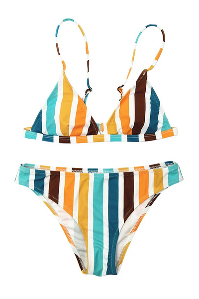 Sherobikini Sexy Rainbow Striped Tight Bikinis Set