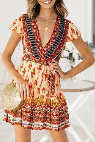 Sherobikini Bohemian Printed Red Mini Dress