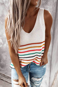 Sherobikini Colorful Stripe Jersey V-Neck Tank Top